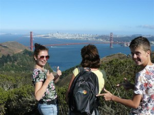 Dit was het uizicht op Golden Gate Bridge en downtown San Francisco tijdens de USA Roadtrip van Alice Koster.